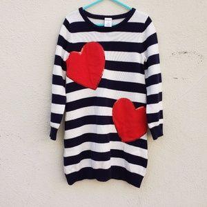 Gymboree Striped Sequin Heart Sweater Dress - 6